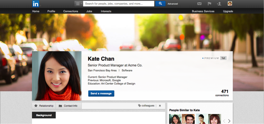 Personalizing Linkedin profile. sample photo